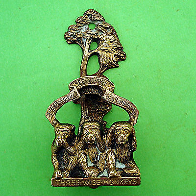 DECO BRASS DOOR KNOCKER THREE WISE MONKEYS Speak No Evil RD. No. VINTAGE 1920s