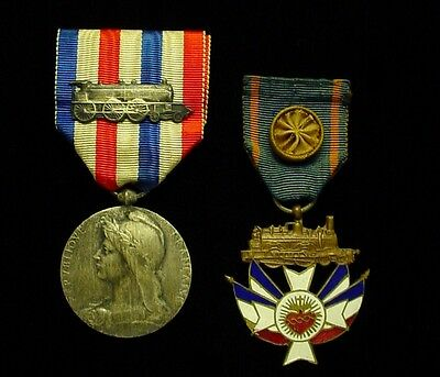Pre WWII 2x French Railroad Railway Medals - Named Honor Medal of Railroads  2cl