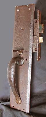 Cleaned Antique Vintage Entry Exterior Store Door Lockset Set Pull Handle Lock