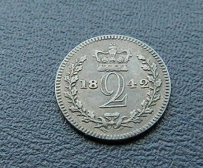 1842 Victoria Maundy Twopence High Grade Rare