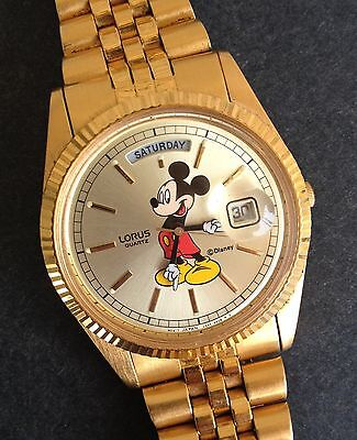 Rare Lorus Presidential V544-8A50 Day Date Mickey Mouse Character Watch Lot