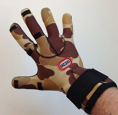 Ozzo Neoprene Fold Over Fingers Fishing Hunting Gloves Size M Camo Authentic New