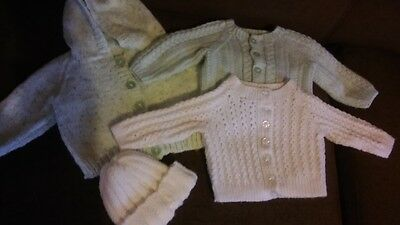 baby 0-3 month handknitted white mint unisex bundle cardi cardigan hat