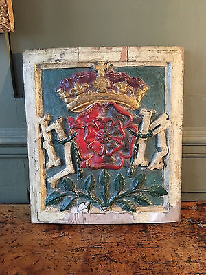 17th or 18th Century carved heraldic panel coat of arms Tudor Rose 1 of 2