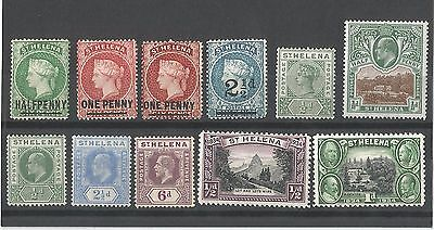 St Helena QV-KGV A Small Collection of 11 MH Stamps Inc Overprints