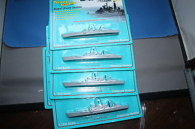 Flotilla of four type 42 Batch 3 Destroyers on cards Triang Minic Ships Special