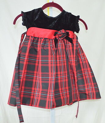 GOOD LAD Girl's Black Red Plaid Holiday Dress Size 3T
