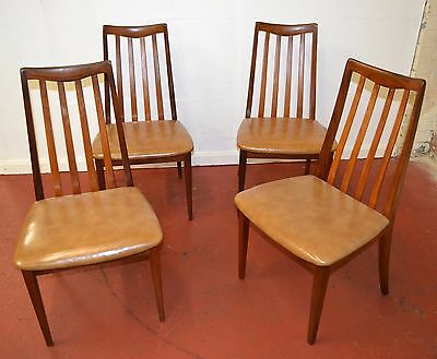 Set of 4 Vintage G Plan Wooden and Vinyl Dining Chairs - 1244