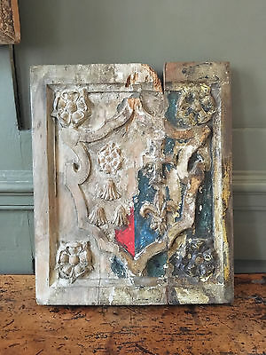 Unresearched 17th or 18th Century carved heraldic panel coat of arms 2 of 2