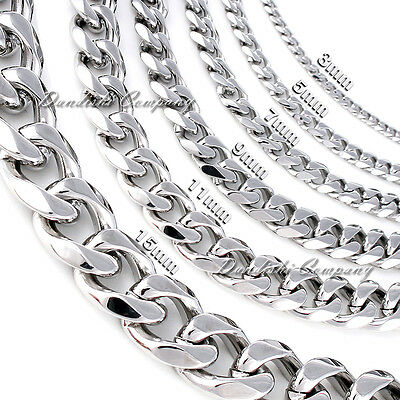 "Top Bright 316L Stainless Steel Link Silver Curb Cuban Chain Men Necklace 8""-40"""