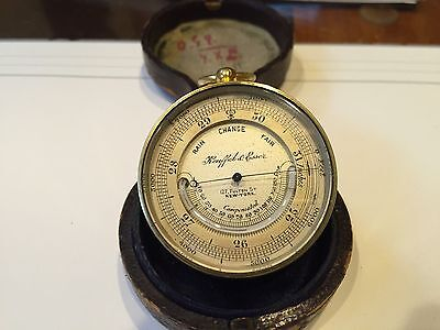 Antique Vintage 1887 Keuffel & Esser Aneroid Barometer With Thermometer