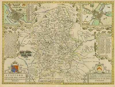 """c1610 """"STAFFORD"""" Staffordshire Original Antique Map by JOHN SPEED Hand coloured"""