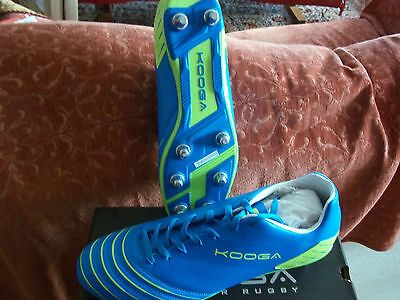 Kooga Authentic Rugby Boots Size 14/eu50/us15 Blue/lime Boxed Christmas Gift