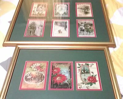 Set of 2 Antique VICTORIAN CHRISTMAS WALL DISPLAY POSTCARDS  Framed and Matted
