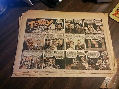 20x Terry and the Pirates Sunday Halfs 1942 1943 1947 **Many Sundays Listed!!