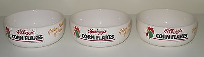 3 x Vintage Kellogg's Corn Flakes Cereal Bowls 'Golden Flakes of Corn' 1991