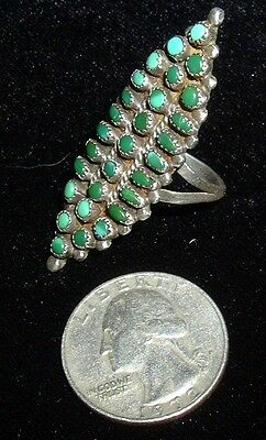 Antique Signed Long Zuni, Snake Eye, Turquoise Ring, Needs A Spot Weld