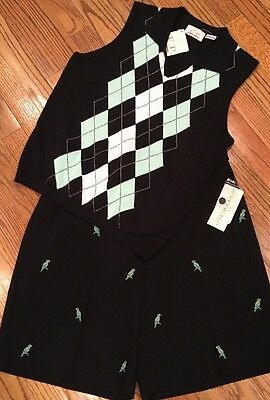 NWT 2 Pc. EP Pro Black Embroidered  Golf Shorts & Argyle Sleeveless  Sweater