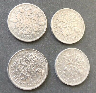 Lucky Silver Sixpences for Christmas Puds ? [4] dated 1931, 1955, 2 x 1967