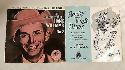 LOT OF 2 50s UK EP 45s HANK WILLIAMS UNFORGETABLE No 2 / HONKY TONK BLUES