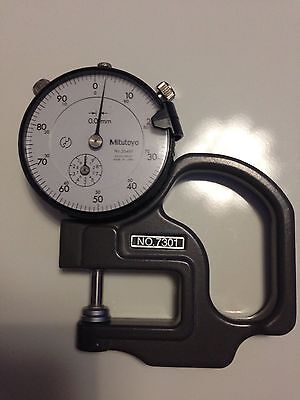 Mitutoyo No 7301 - Dial Thickness Gauge Flat Anvil 0-10mm, 001mm
