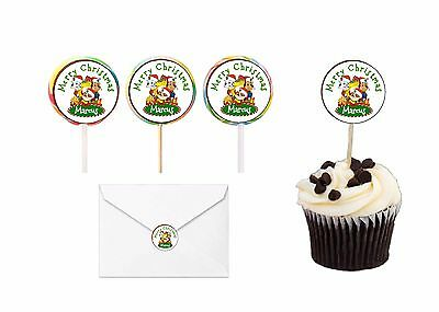 30 Paw Patrol Christmas Stickers Lollipop Labels Party Favors 1.5 in PERSONALIZE