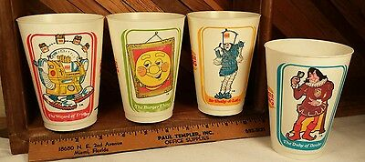 BURGER KING 1979 FAST FOOD CHARACTER COLLECTOR CUPS lot of 4