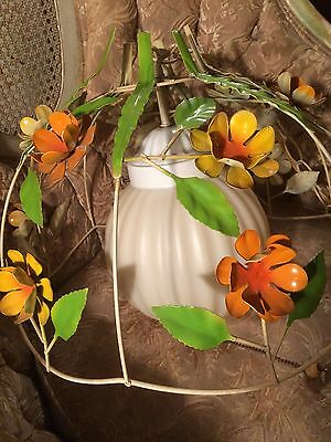 Vintage Shabby Chic Flower Hanging Swag Light Fixture Metal Lamp w Globe & Chain
