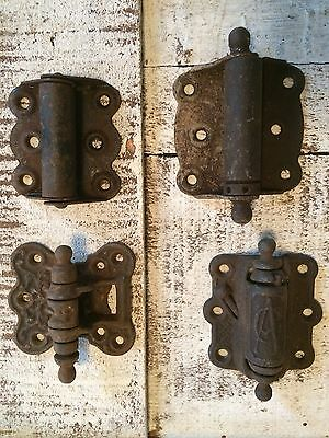 4 Mixed Antique Ornate Springload Victorian Shabby Cast Iron Screen Door Hinges