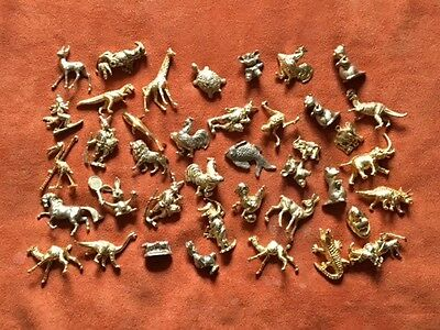 Lot 50 Feves Metal Dorees Themes Animaux