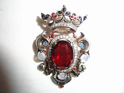1940's Trifari Sterling Shield Brooch ~ Jeweled & Moonstone Crown ~ A Philippe