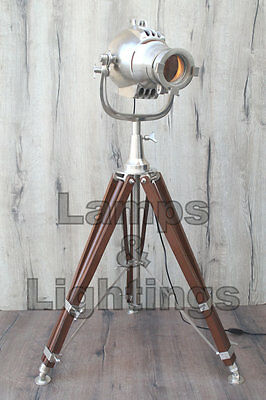 Antique Tripod Spot Light Vintage Industrial Metal Tripod Floor Lamp Restoration