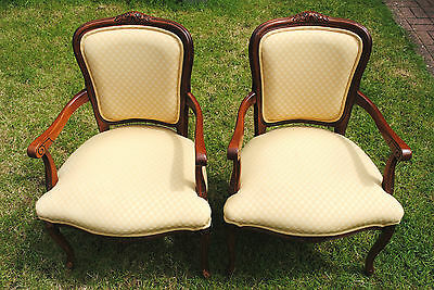 PAIR of Vintage French Louis XV Style Chairs w/ Elegant Wood Design & Fabric