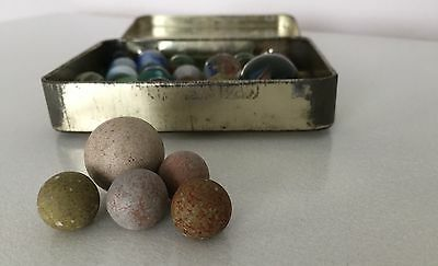 Collection of old Marbles in Metal Tobacco Tin