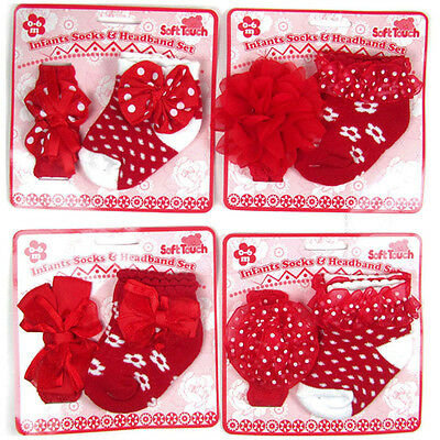 Baby Girls socks and headband Set 0-6 months Soft Touch Red White