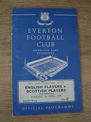 1964 Dixie Deans Testimonial - Everton : English Players V Scottish Players