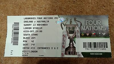 England Australia 4 Nations Rugby League ticket (13/11/16, used)