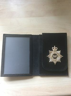 Leather ID Card Wallet With Regimental badge