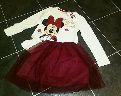BNWT Disney Minnie long sleeved top and tutu net skirt set size 6-7 years