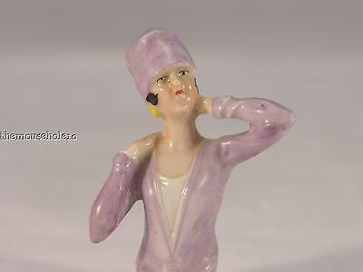 Vintage flapper pin cushion doll in purple v-neck and cloche