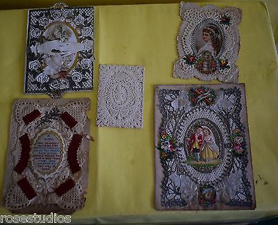 Handmade Lace Greeting Cards Victorian/ Edwardian Good Condition Unusual   162