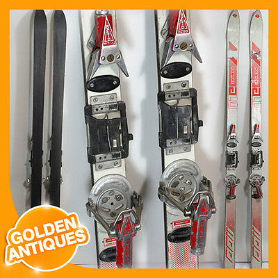 old vintage antique POLSPORT red grey 160cm Downhill Skis + BZSS BETA Bindings