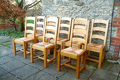 8 French Solid Oak Ladder Back Farmhouse Rush Seat Farmhouse Dining Chairs