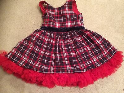Christmas Party Dress. Red Tartan With Frills. Age 4