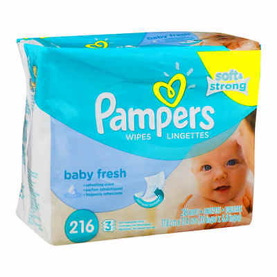 Pampers Baby Fresh Baby Wipes, 216 sheets Refill Pack Case Soft Strong