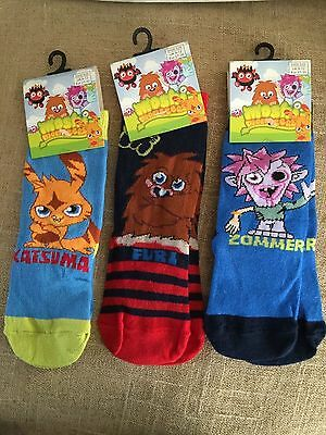 3 pairs Moshi Monster socks for boys ,9-12 size  new with tag