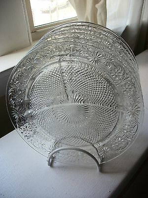 6 DAISY SANDWICH Indiana Divided Grill Plates in Clear Glass