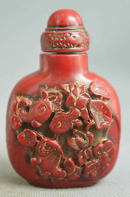 china collection coral carve goldfish inside lotus lucky noble snuff bottle