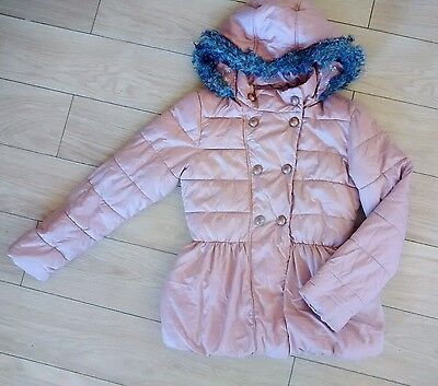 NEXT Girls Powder Pink Winter Coat /Jacket with Faux Fur Hood, Age 11-12 Years