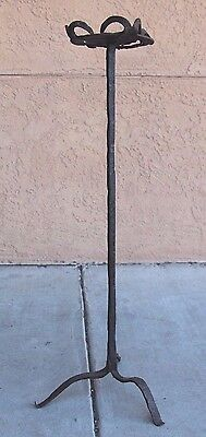 Antique Early Iron Standing Cressett